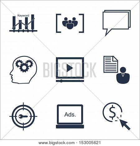 Set Of Advertising Icons On Ppc, Video Player And Questionnaire Topics. Editable Vector Illustration