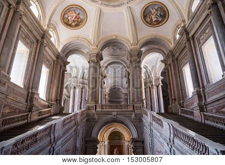 Caserta Italy - August 29 2016: Grand Staircase of Honour in Royal Palace a former royal residence in Caserta constructed for the Bourbon kings of Naples