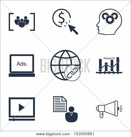 Set Of Advertising Icons On Keyword Optimisation, Ppc And Report Topics. Editable Vector Illustratio