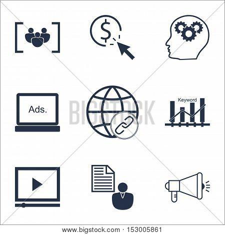 Set Of Advertising Icons On Keyword Optimisation, Ppc And Report Topics. Editable Vector Illustratio