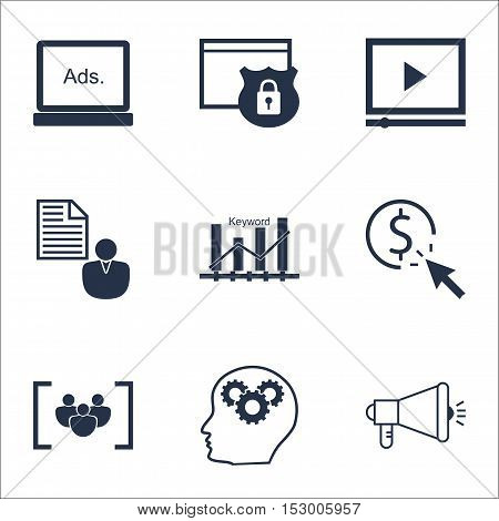 Set Of Advertising Icons On Media Campaign, Report And Security Topics. Editable Vector Illustration