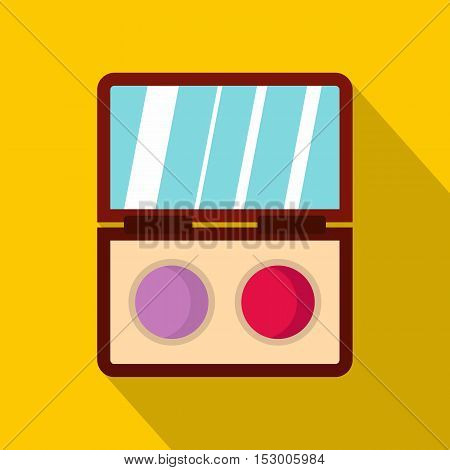 Eyeshadow palette icon. Flat illustration of eyeshadow palette vector icon for web isolated on yellow background