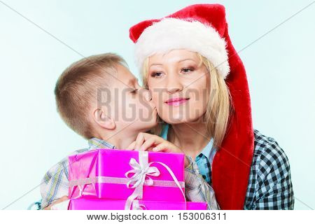 Mother And Son With Gift Boxes