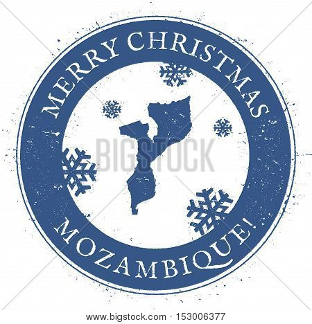 Mozambique Map. Vintage Merry Christmas Mozambique Stamp. Stylised Rubber Stamp With County Map And