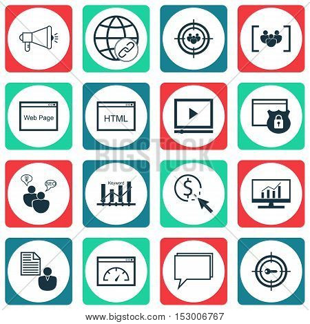 Set Of Seo Icons On Media Campaign, Loading Speed And Questionnaire Topics. Editable Vector Illustra