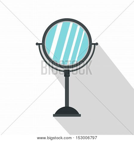 Gray makeup mirror icon. Flat illustration of makeup mirror vector icon for web
