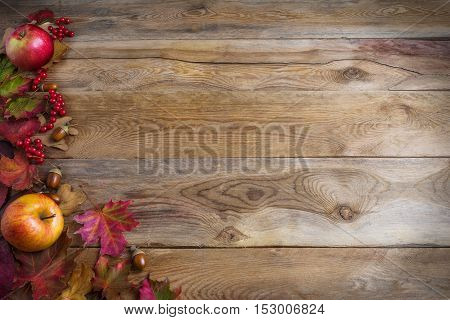 Thanksgiving background with apples acorns red berries and fall leaves on the old wooden background. Thanksgiving background with seasonal berries and fruits. Abundant harvest concept.