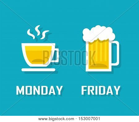 cup of coffee or tea on Monday and a mug of beer on Friday
