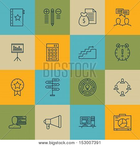 Set Of Project Management Icons On Presentation, Time Management And Announcement Topics. Editable V