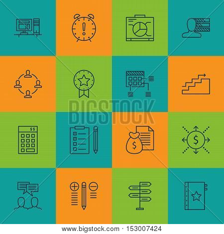 Set Of Project Management Icons On Opportunity, Reminder And Discussion Topics. Editable Vector Illu
