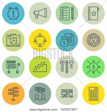 Set Of Project Management Icons On Report, Computer And Announcement Topics. Editable Vector Illustr