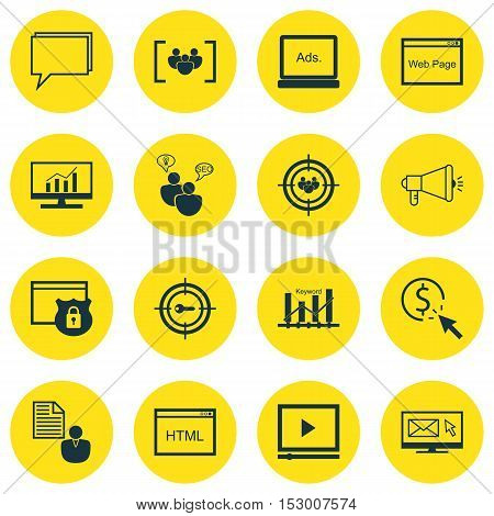 Set Of Marketing Icons On Focus Group, Digital Media And Video Player Topics. Editable Vector Illust