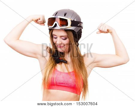 Strong Woman With Sporty Helmet.