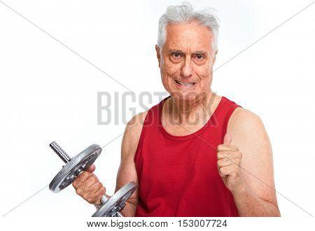 Senior man with dumbbell.