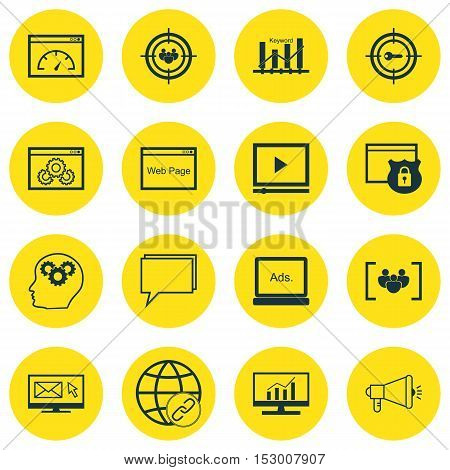 Set Of Advertising Icons On Newsletter, Connectivity And Security Topics. Editable Vector Illustrati