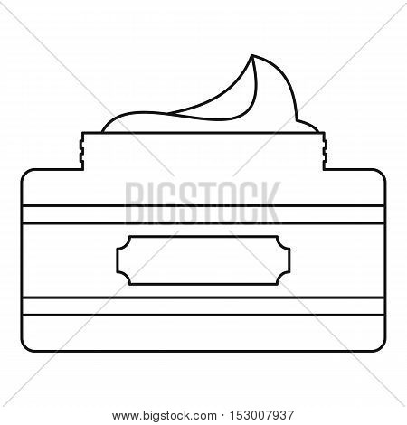 Jar of cosmetic cream icon. Outline illustration of cream jar vector icon for web