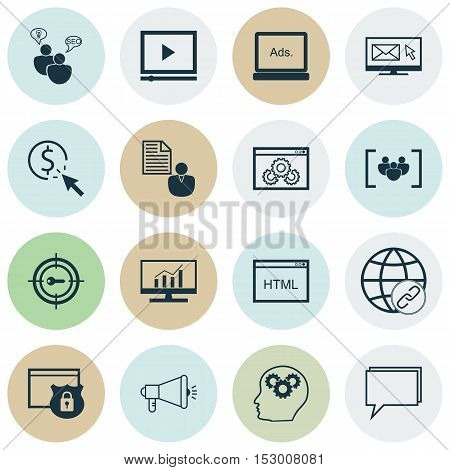 Set Of Advertising Icons On Connectivity, Seo Brainstorm And Market Research Topics. Editable Vector