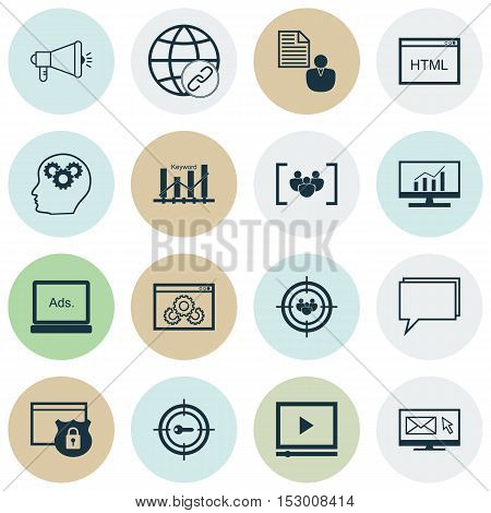 Set Of Marketing Icons On Market Research, Focus Group And Video Player Topics. Editable Vector Illu