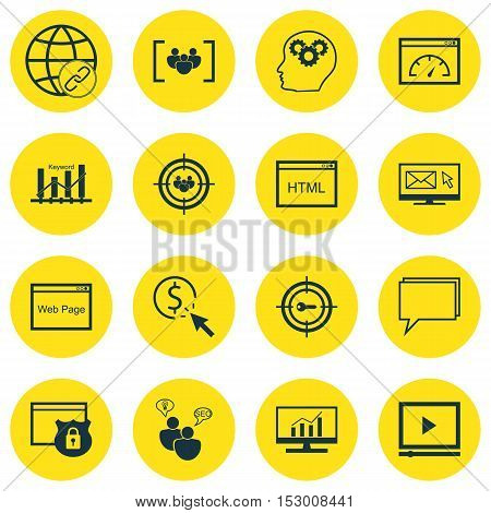 Set Of Seo Icons On Market Research, Focus Group And Seo Brainstorm Topics. Editable Vector Illustra