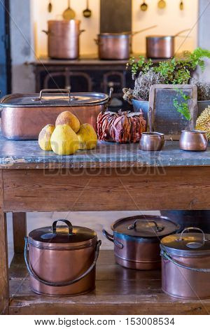 Interior Old Kitchen With Vintage Kitchenware