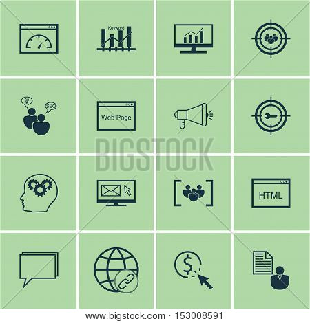 Set Of Advertising Icons On Focus Group, Conference And Newsletter Topics. Editable Vector Illustrat