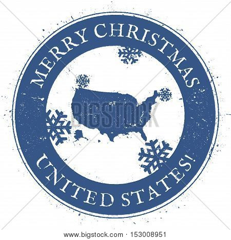 United States Map. Vintage Merry Christmas United States Stamp. Stylised Rubber Stamp With County Ma