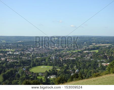 Dorking & the Surrey Hills (England UK) from Boxhill