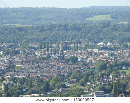 Dorking and the Surrey Hills England UK taken from Box Hill