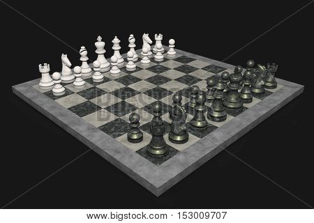 A chess game with figures (3d rendering)
