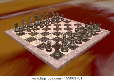 A chess game with exclusively black figures (3d rendering)