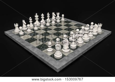 A chess game with exclusively white figures as a symbol of peace (3d rendering)