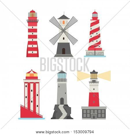 Vector set of cartoon flat lighthouses.