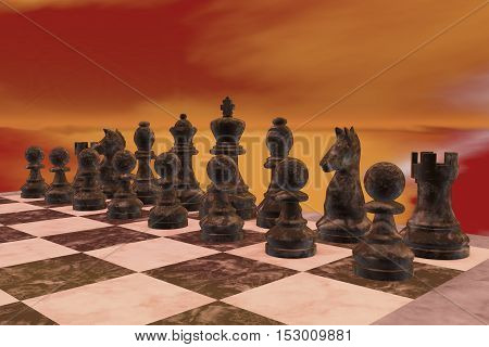 The black figures of a chess game (3d rendering)