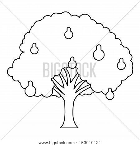 Pear tree icon. Outline illustration of pear tree vector icon for web