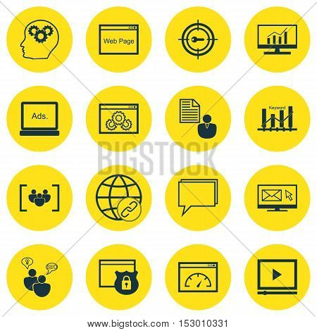 Set Of Seo Icons On Loading Speed, Report And Digital Media Topics. Editable Vector Illustration. In