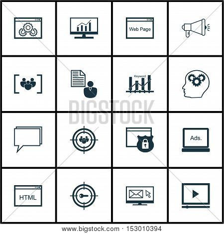 Set Of Seo Icons On Coding, Video Player And Focus Group Topics. Editable Vector Illustration. Inclu