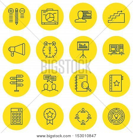 Set Of Project Management Icons On Decision Making, Present Badge And Announcement Topics. Editable
