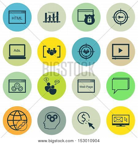 Set Of Seo Icons On Coding, Brain Process And Questionnaire Topics. Editable Vector Illustration. In