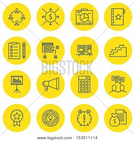 Set Of Project Management Icons On Investment, Present Badge And Money Topics. Editable Vector Illus