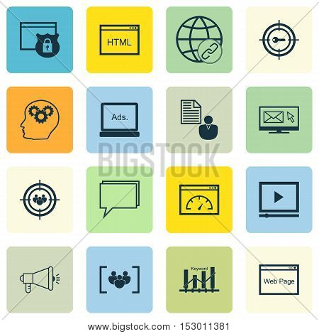 Set Of Marketing Icons On Connectivity, Questionnaire And Keyword Marketing Topics. Editable Vector
