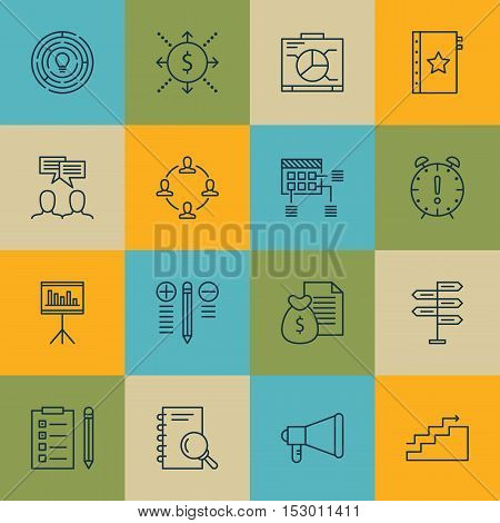 Set Of Project Management Icons On Announcement, Schedule And Decision Making Topics. Editable Vecto