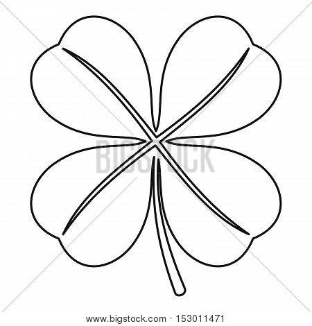 Four leaf clover leaf icon. Outline illustration of four leaf clover leaf vector icon for web