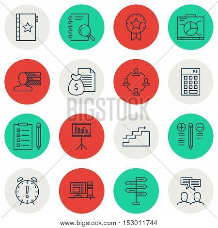 Set Of Project Management Icons On Computer, Time Management And Presentation Topics. Editable Vecto