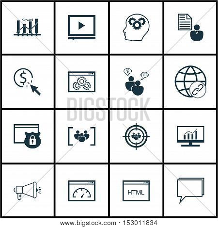 Set Of Marketing Icons On Focus Group, Market Research And Seo Brainstorm Topics. Editable Vector Il