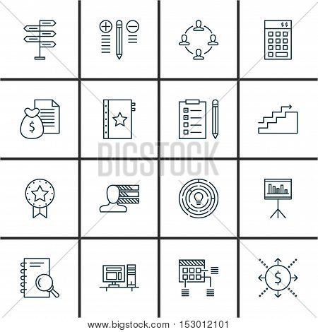 Set Of Project Management Icons On Computer, Warranty And Money Topics. Editable Vector Illustration