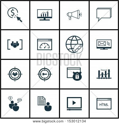 Set Of Seo Icons On Focus Group, Keyword Optimisation And Video Player Topics. Editable Vector Illus