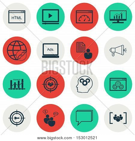 Set Of Marketing Icons On Video Player, Report And Market Research Topics. Editable Vector Illustrat