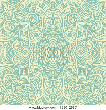 Abstract seamless pattern  in  Zen tangle or Zen doodle style  in beige light blue for wallpaper or  for packed something or for clothes or for cosmetic perfume or for web or for  techno background