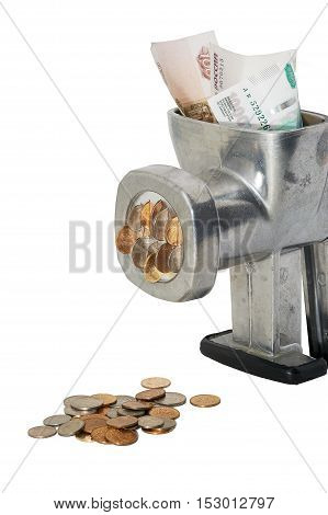 Banknotes in mincing machine change into coins