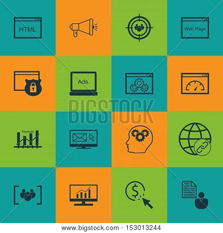 Set Of Seo Icons On Report, Brain Process And Media Campaign Topics. Editable Vector Illustration. I